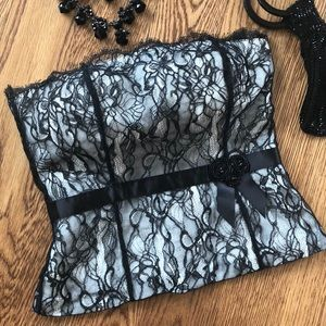 Ann Taylor Petites Black Lace Strapless Top Sz 8P